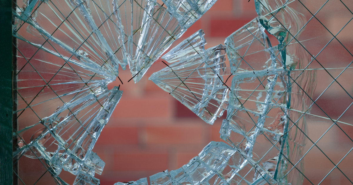 Shattered glass security window